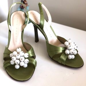 Robert Robert Green Slingbacks Kitten Heel Pearls